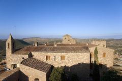 Views of medieval church from Parador de Cardona, a 9th Century hillside Castle, near Barcelona, Catalonia, Cardona, Spain Stock Photography
