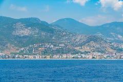 Views of the Mediterranean coast. Mountainous terrain Royalty Free Stock Photos