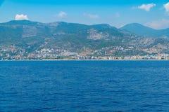 Views of the Mediterranean coast. Mountainous terrain Stock Photos