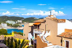 Views of Mediterranean Sea from Paguera Village. Mallorca, Spain stock images