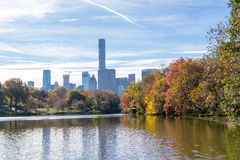 Views of middtown from The Lake In central Park Royalty Free Stock Photo