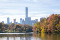 Views of middtown from The Lake In central Park Royalty Free Stock Image