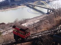 Duquesne Incline from  Mt Washington Allegheny River Pgh Pa stock photo