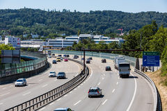 Views of the motorway A1 near the Baregg, Switzerland Royalty Free Stock Photography