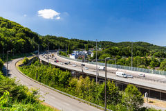 Views of the motorway A1 near the Baregg, Switzerland Royalty Free Stock Image