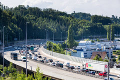 Views of the motorway A1 near the Baregg Tunnel Royalty Free Stock Images