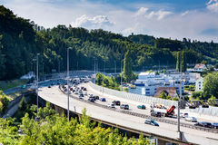 Views of the motorway A1 near the Baregg Tunnel Royalty Free Stock Photography
