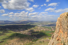Views of Mount Arbel and rocks. isrel. Rocks of Mount Arbel in Israel Royalty Free Stock Photos