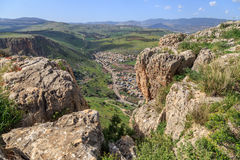 Views of Mount Arbel and rocks. isrel Royalty Free Stock Photos