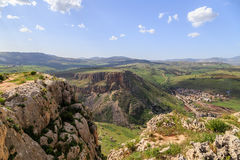 Views of Mount Arbel and rocks. isrel Royalty Free Stock Photography