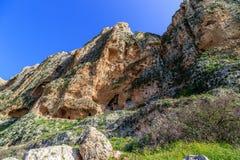Views of Mount Arbel and rocks. isrel. Rocks of Mount Arbel in Israel Royalty Free Stock Photos