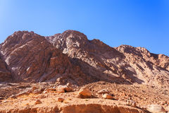 Views of Mount Moses in Sinai. Mount Moses in the Sinai Peninsula in Egypt royalty free stock photo