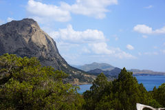 Views of Mount Sokol.Novyi Svet. Crimea. Mount Sokol in Green bay. shadow play. beautiful places of Crimea Stock Photo