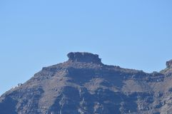 Views Of A Mountain Outgoing On Santorini Island Photo From High Seas. Landscapes, Cruises, Travel. July 7, 2018. Pyrgos Island Santorini Greece royalty free stock image