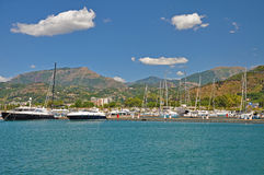 Views of the mountains and the marina in Salerno clear sunny day Royalty Free Stock Photo