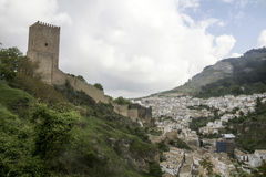 Views of the municipality of Cazorla and its castle in the province of Jaen, Andalusia Royalty Free Stock Photo