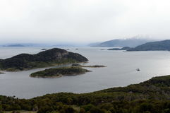 Views of the Murray channel from the island of Navarino. Royalty Free Stock Photos