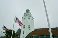 Nautical Lighthouse at Montauk Yacht Club in Montauk, New York. stock images