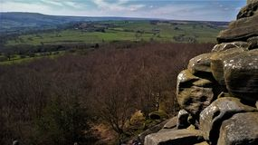 Brimham Rocks. Views of the Nidd valley and farmland Royalty Free Stock Photos