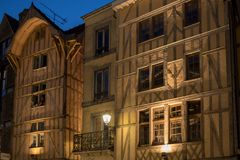 Views of old town at night. Troyes - capital of Aube department in Champagne region. France. Many half-timbered houses mainly of 16th century survive in old royalty free stock photos