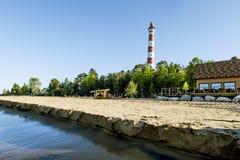 Views Osinovetskiy lighthouse on the shore of lake Ladoga. Russi Stock Images