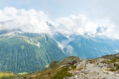 Views over Chamonix and Mont Blanc in France. Views over Chamonix and Mont Blanc in Auvergne-Rhône-Alpes in France Royalty Free Stock Image