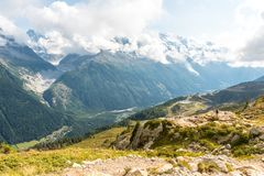 Views over Chamonix and Mont Blanc in France. Views over Chamonix and Mont Blanc in Auvergne-Rhône-Alpes in France Stock Photos