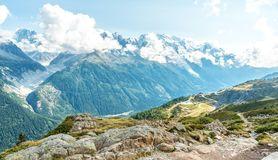 Views over Chamonix and Mont Blanc in France. Views over Chamonix and Mont Blanc in Auvergne-Rhône-Alpes in France Stock Photography