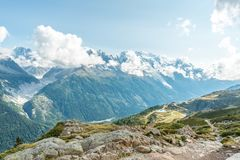Views over Chamonix and Mont Blanc in France. Views over Chamonix and Mont Blanc in Auvergne-Rhône-Alpes in France Stock Photo