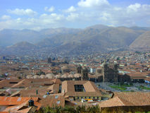 Views over Cuzco. City and houses stock photo