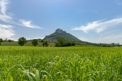 Views over the mountains, fields and valleys in the european alp Royalty Free Stock Photo