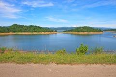 Views over the reservoir Kaengkrachan dam Stock Photos