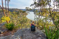 Views over the river in afternoon sunlight. Views over river from the Australian bushland Stock Photos