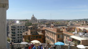 Views over Rome. View over the rooftops of Rome and to the Spanish court stock video