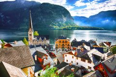 Views over roofs of the lake and Hallstatter and Hallstatt Luthe stock images