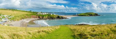 Challaborough Bay and Burgh Island Devon England royalty free stock photography