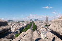 Views of Paris from atop the Arc de Triomphe. Panoramic views of Paris from atop the Arc de Triomphe Stock Photography