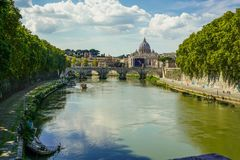 Views of the Ponte Sant`Angelo and the Tiber river royalty free stock image