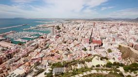 Views of the port of the city of Alicante stock footage