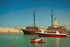 Views of the port and the lighthouse, the town of Rethymno, Cret Stock Photography