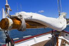 Views of the private sail yacht. Royalty Free Stock Photo