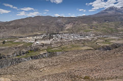 Views of Putre. Putre is a Chilean town in the altiplano at an altitude of 3,500 m (11,438 ft Stock Photo