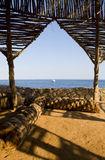 Views of the Red Sea. From under the hut in egypt Royalty Free Stock Photography