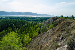 Views of the river from the mountain. Views of the river and forest with mountains Stock Photos