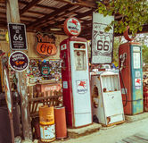 Views of the route 66 decorations in the little village  in Arizona. Royalty Free Stock Image