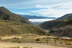 Views from route 13 on its way to Iruya. Salta Province, Argentina. Iruya is under the fog at background Stock Photography