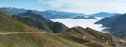 Views from route 13 on its way to Iruya. Salta Province, Argentina. Iruya is under the fog at background Royalty Free Stock Photo