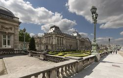 Views of the royal palace with its gardens in the capital of Belgium. Stock Image