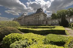 Views of the royal palace with its gardens in the capital of Belgium. Royalty Free Stock Photo
