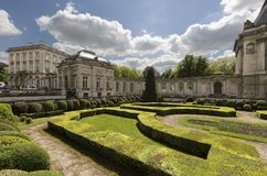 Views of the royal palace with its gardens in the capital of Belgium. Royalty Free Stock Image